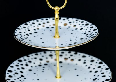 White and Gold Polka Dot 2-Tier Serving Stand