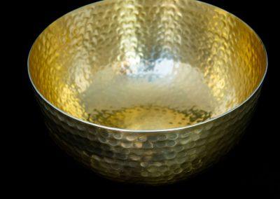 Gold Hammered Serving Bowl