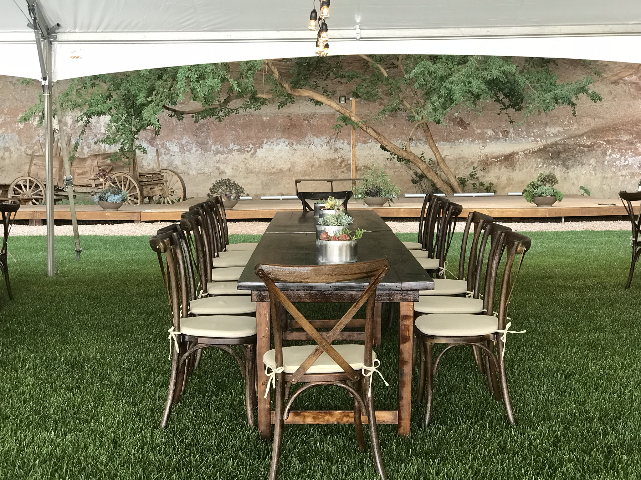 Farm Tables with Cross Back Chairs