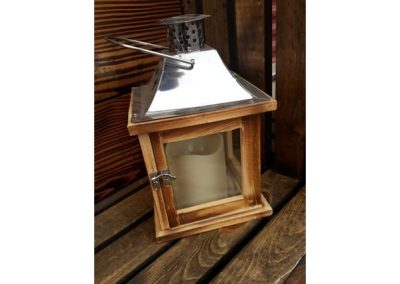 Wooden lantern, silver top with attached candle