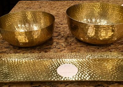 Gold Serving Tray and Bowls